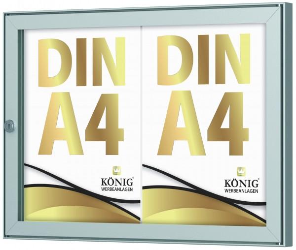Schaukasten Keitum 2x DIN A4 | Querformat | wetterfest | abschließbar | ESG-Sicherheitsglas | Brandschutz A1/A2 nach DIN EN 13501-1 | Alu silber