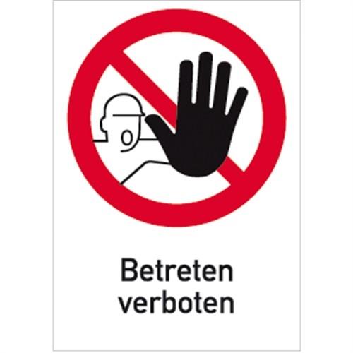 Aufkleber Betreten verboten, Kombischild, Folie, 131x185 mm