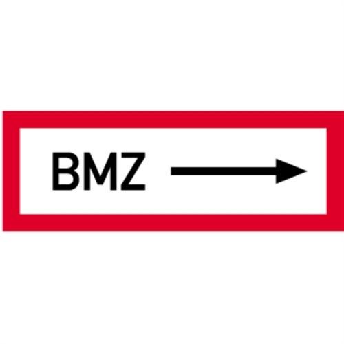 Schild BMZ rechtsweisend, Alu, 297x105 mm