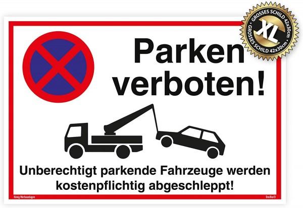 Großes Schild Parken verboten weiß   stabiles Alu-Schild mit UV-Schutz 42 x 30cm