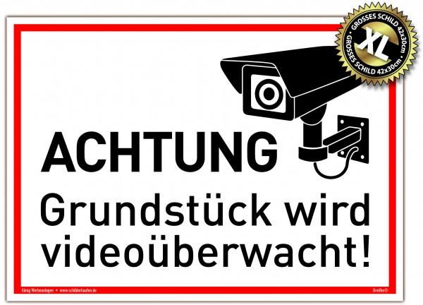 Großes Schild Achtung Grundstück wird videoüberwacht! weiß | stabiles Alu Schild mit UV-Schutz 42 x 30 cm