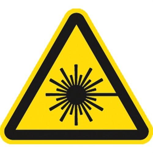 Schild Warnung vor Laserstrahl ISO 7010, Alu, 100 mm SL