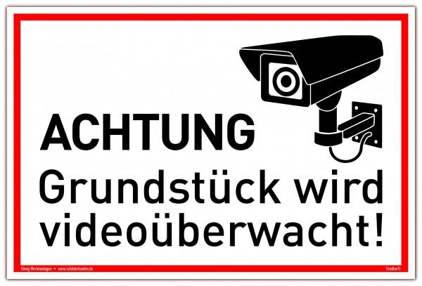Schild Achtung Grundstück wird videoüberwacht! weiß | stabiles Alu Schild mit UV-Schutz 30 x 20 cm