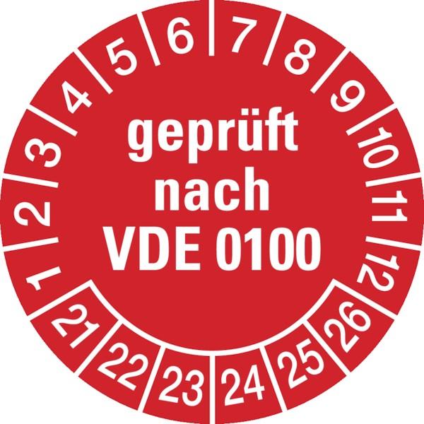 Prüfplakette, geprüft nach VDE 0100, rot/weiß, Folie, Ø 30 mm - VE = 10 Plaketten