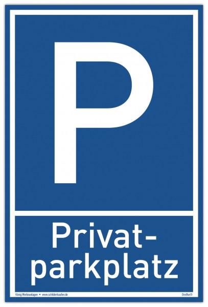 Schild Privat Parkplatz blau | stabiles Alu Schild mit UV-Schutz 20 x 30 cm
