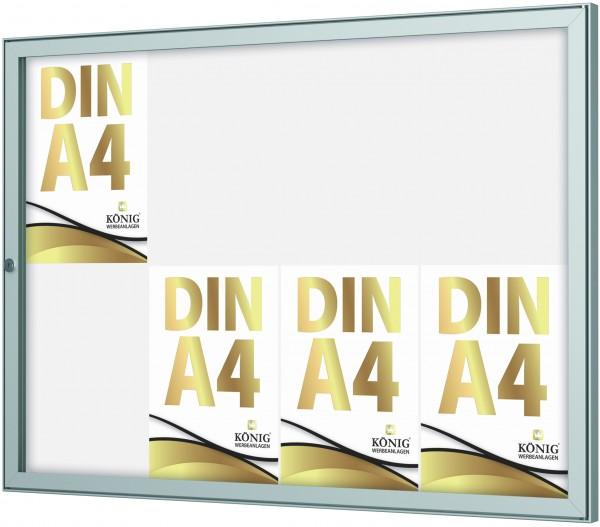 Schaukasten Keitum 8x DIN A4 | Querformat | wetterfest | abschließbar | ESG-Sicherheitsglas | Brandschutz A1/A2 nach DIN EN 13501-1 | Alu silber