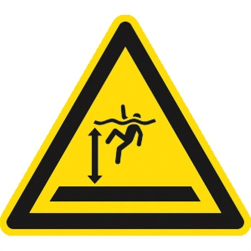 Schild Warnung vor tiefem Wasser ISO 20712-1, Alu, 400 mm SL