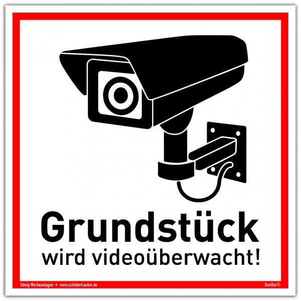 Schild Grundstück wird videoüberwacht! weiß | stabiles Alu Schild mit UV-Schutz 20 x 20 cm