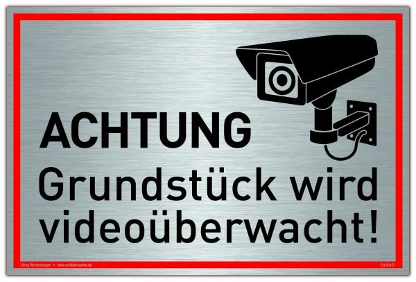 Schild Achtung Grundstück wird videoüberwacht! Silber | stabiles Alu Schild mit UV-Schutz 30 x 20 cm