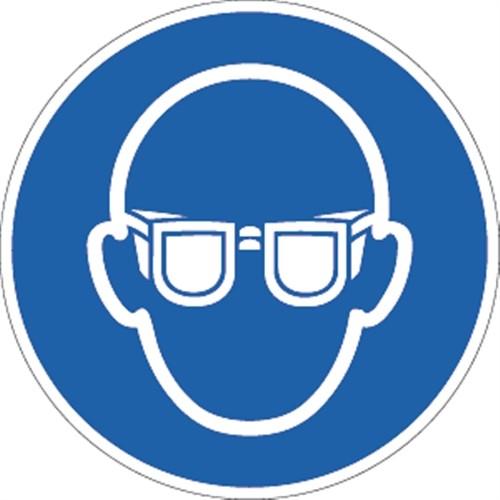 Aufkleber Augenschutz benutzen ISO 7010, Folie, Ø 100 mm