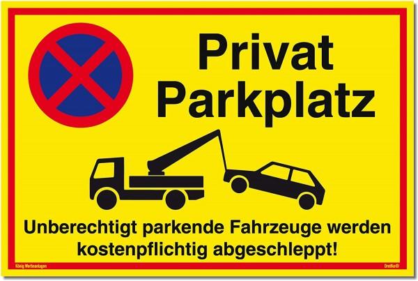 Schild Privatparkplatz gelb | stabiles Alu-Schild mit UV-Schutz 30 x 20 cm