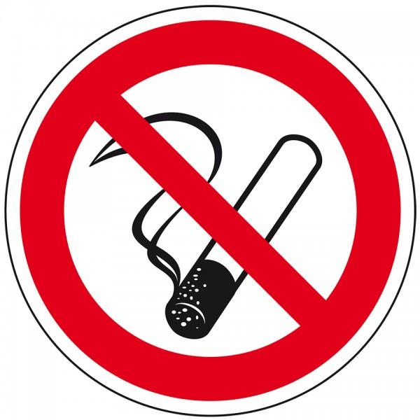 Aufkleber I Verbotsschild Rauchen verboten, praxisbewährt, Folie, selbstklebend, Ø 100mm, BGV A8
