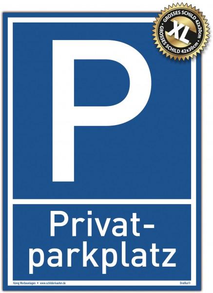 Großes Schild Privat Parkplatz blau | stabiles Alu Schild mit UV-Schutz 30 x 42 cm
