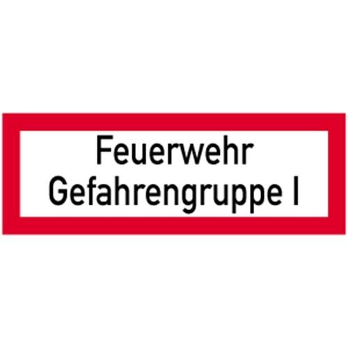 Schild Feuerwehr Gefahrengruppe I, Alu, 297x105 mm