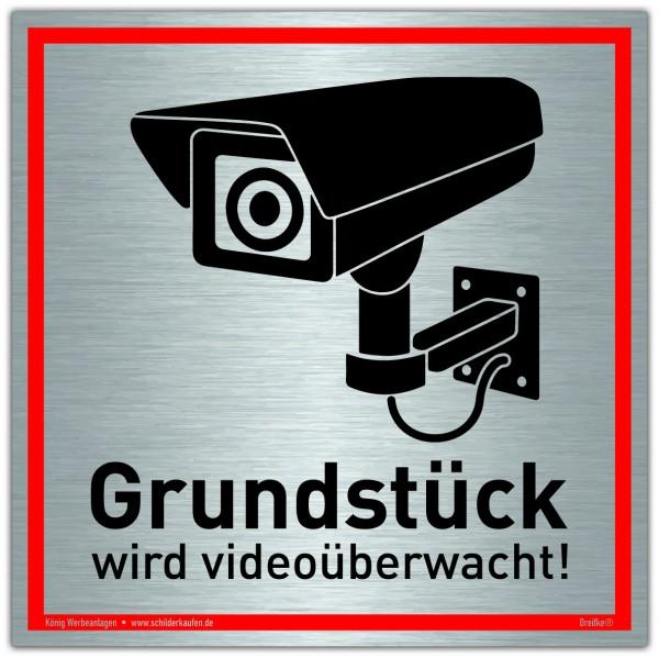 Schild Grundstück wird videoüberwacht! Silber | stabiles Alu Schild mit UV-Schutz 20 x 20 cm