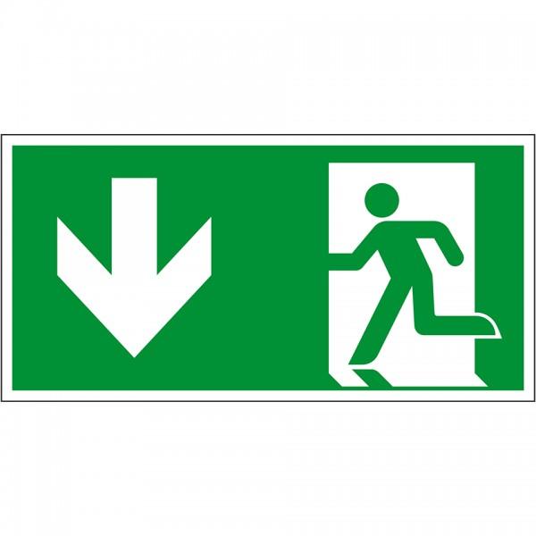 Schild I Rettungszeichen Notausgang, Kunststoff, 300x150mm, ASR A1.3, DIN EN ISO 7010 E001